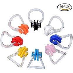 Ruix 8piezas Pinza de nariz para natación silicona natación Protector enchufe, cada color para 1pieza