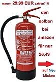 6 kg ABC Pulver Feuerlöscher Orginalverpackt Brandklasse ABC, EN3, Messingarmatur + Sicherheitsventil + Manometer/Wandhalter/Standfuß, Pulverlöscher