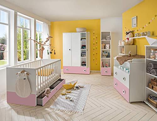 lifestyle4living Babyzimmer Komplett-Set in weiß und rosa, modernes 4-TLG. Kinderzimmer, Mädchen, zeitlos