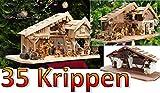 Große Weihnachtskrippe + Zubehör, 70 cm Ausführung: massiv Vollholz Massivholz, Krippe und Krippenstall auf Wunsch* mit Premium-Krippenfiguren und Krippenbeleuchtung