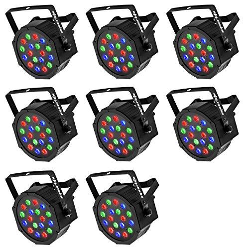 LED Par, Eyourlife LED Partylicht Discolicht Bühnenlicht Par LED 30W Lichteffekt DMX512 RGB Stage Light 18LEDs -EU Stecker (8 Stück) - 3 Stück Outdoor-bar
