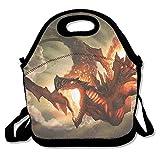 Dozili Cool Fire Dragon Große & dicke Neopren-Lunch-Taschen, isolierte Lunch-Tasche, warme Tasche mit Schultergurt, für Damen, Teenager, Mädchen, Kinder, Erwachsene
