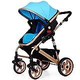 baby stroller der Kinderwagen Kann Sitzen und Falten Zwei-Wege-Vierrad-Dreifach-Dämpfer Kinderwagen Kinderwagen,Blue