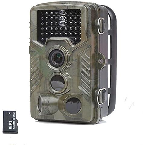 Laserbeak Trail cámara de 2.4 pulgadas LCD de 12 MP 1080P HD 120 grados de la lente PIR IP56 a prueba de agua visión nocturna de activación 46 PC IR LED De caza Monitor de proteger la cámara de vigilancia con tarjeta de 8G