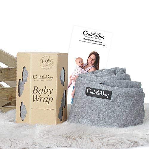 ❤️ Tragetuch Baby von Cuddlebug ❤️ mit Gratisversand – 5 Farboptionen – Baby Carrier Sling – Babytragetuch Neugeborene – Elastisches Tragetuch (Grau) - 3