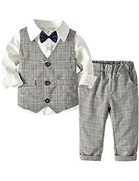 QitunC Bebé Niño Conjunto Gentleman Ropa Bowtie Camisa + Chaleco + Pantalones Traje de Bautizo Fiesta