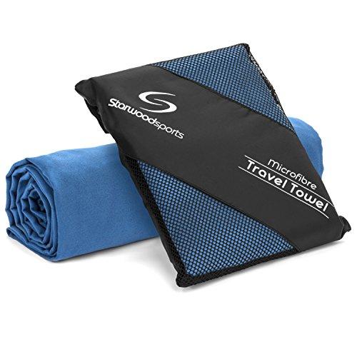 Mikrofaser-Reisehandtuch–Sport-Handtuch für Strand–Fitnessstudio–Camping–Schwimmen–Yoga und Pilates–Schnelltrocknend, leicht und kompakt, Dunkelblau, Größe XL, 100x 80cm)