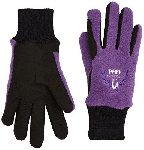 Pfiff 101657 Kinder Handschuhe Fleece, warme Fleecehandschuhe, Kinderhandschuhe, Schwarz / Lila 6 Jahre