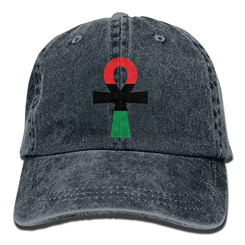 Red, Black & Green Ankh Vintage Washed Dyed Cotton Twill Low Profile Adjustable Baseball Cap Black