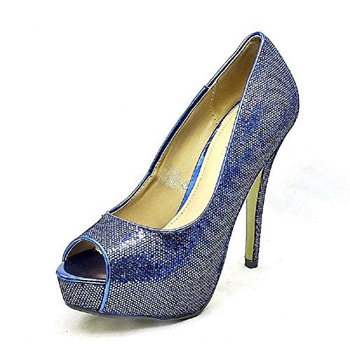 Mesdames peep brillant plate-forme de talon haut chaussures de soirée blue
