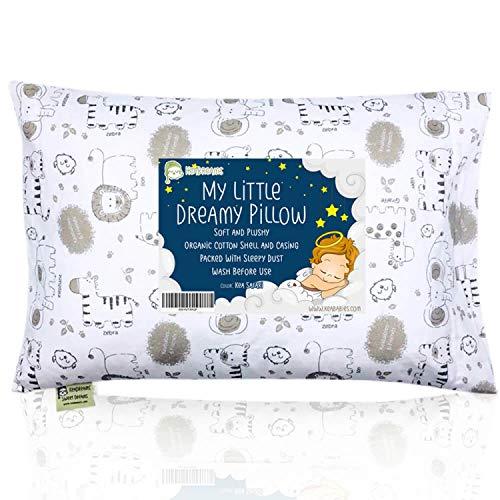Cojín infantil con bonita funda de almohada - 13 x 18 almohadas de algodón orgánico suave para dormir...