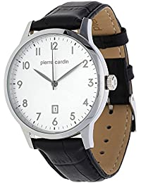 Pierre Cardin Men's Black Calfskin Stainless Steel Case Quartz Watch pc106671f10