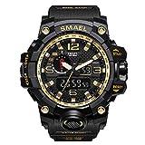 Herren Digitale Uhren, Sport Laufen wasserdichte militärische Armbanduhr Fashion Men LCD Digital Stoppuhr Herren-Gold-WCH1545-GD