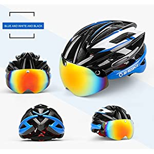 INBIKE ciclismo casco bicicleta casco con ciclismo gafas ultraligero Integrally-molded carretera MTB casco magnético gafas casco, Blue+White+Black