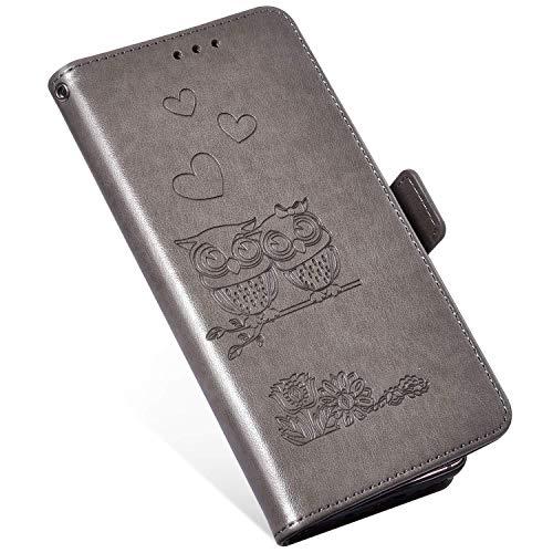 QPOLLY Cover in Pelle Compatibile con Samsung Galaxy S9, Custodia PU Portafoglio Libro Flip Wallet Case Caso Gufo Modello Disegni Supporto Porta Carte e Chiusura Magnetica 360 Gradi Cover,Grigio