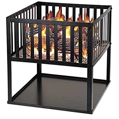 Square Garden Wood Log Burning Fire Pit Outdoor Patio Heater Brazier Charcoal from Guaranteed4Less