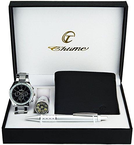 Geschenkset Herren Armbanduhr Grau - Schweizer Taschenmesser Taschenlampe - Brieftasche -Stift