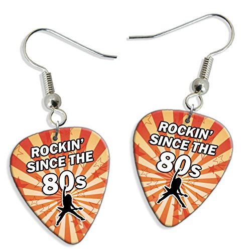 Rockin Since The 80s Birthday 2 X Logo Guitar Pick Earrings