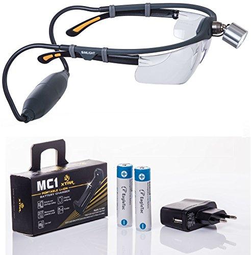 Simlight: Superhelle LED Profi Stirnlampe, incl. 2 Wechsel-Li-Ion-Akkus, Ladegerät und Schutzbrille, kombinierbar mit allen Sehstärke-, Lupen-, oder Schutzbrillen, ideal für medizinisches Personal