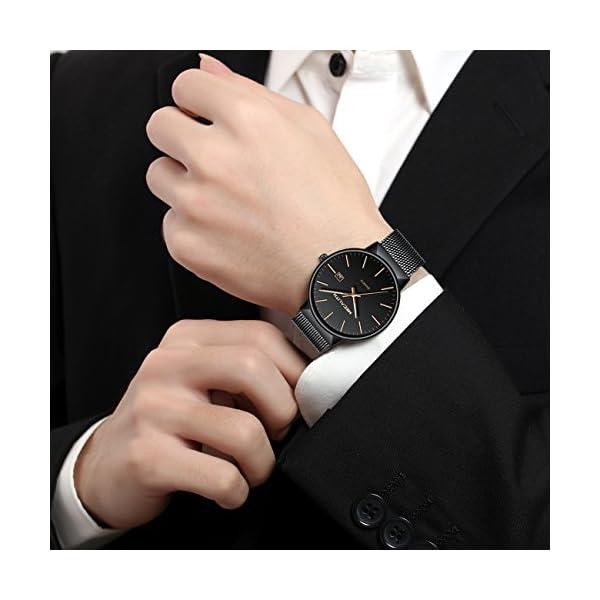e514f6d9f9c3 Montre Homme Acier Inoxydable Montre Bracelet à Quartz Analogique Etanche  Luxe Mode Date Calendrier Design Simple ...