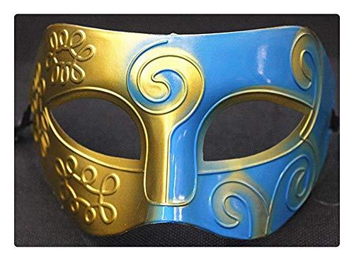 Z-one 1 Halbgesichtsmaske Halloween Kostüm Phantom der Oper Cosplay für Männer und Frauen (Blau und Gold) (Kostüm Der Frauen Phantom Oper)