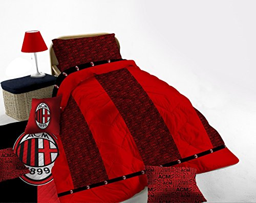 Trapunta 1 piazza a.c. milan letto singolo 170x260 made in italy *01384