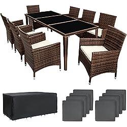 TecTake Salon de jardin en aluminium résine tressée poly rotin table   8 fauteuils   Deux set de housses + habillage pluie inclus   -diverses couleurs au choix- (Marron   No. 401162)