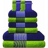 Liness-Stripes 10 tlg Handtuch-Set 4 Handtücher 50x100 cm 2 Duschtücher Badetücher 70x140 cm 4 Waschhandschuhe Waschlappen 16x21 cm 100% Baumwolle blau grün