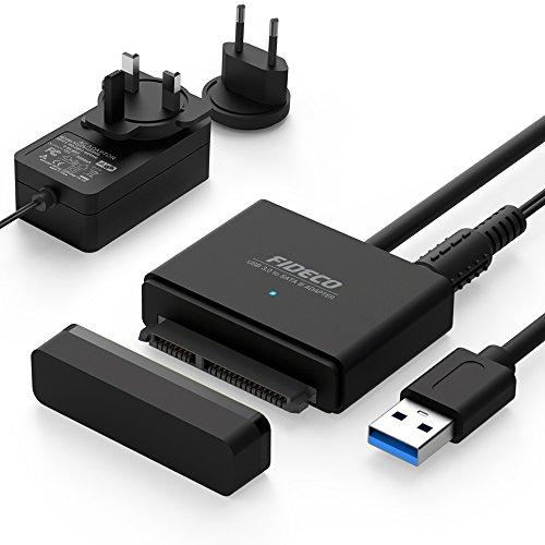 "FIDECO Adaptador USB 3.0 a SATA I/II/III con UASP 10 TB Max para 2.5""/3.5"" HDD/SSD con 12V 2A Adaptador de Corriente (Type A)"