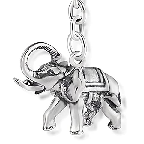 STERLL Keychain Lucky charm Elephant for men, made of solid oxidized 925 sterling-silver, the perfect gift for husband or boyfriend, including jewelry pouch