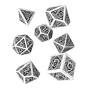 Q WORKSHOP Celtic 3D Revised White & Black RPG Dice Set 7 Polyhedral Pieces