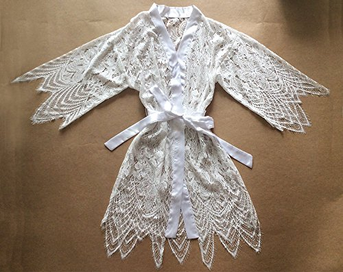 Traje encaje blanco Kimono Robe adornos encaje -Ropa