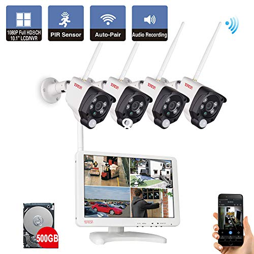 "【Audio & PIR Sensor】 Tonton 1080P Audio Wireless Überwachungskamera Set mit Monitor 8CH 10.1"" Full HD Monitor 8CH Videoüberwachung NVR+ 500G Festplatte mit 4 * 1080P IP WLAN Überwachungskameras"