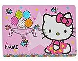 Unterlage - Hello Kitty Luftballon - 43 cm * 29 cm incl. Namen - Tischunterlage / Platzdeckchen / Malunterlage / Knetunterlage / Eßunterlage - Katze Kätzchen ..