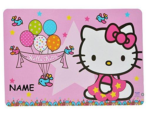 Unterlage - Hello Kitty Luftballon - 43 cm * 29 cm incl. Namen - Tischunterlage / Platzdeckchen /...