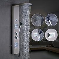 OBEEONR Panneau de Douche Thermostatique Murale Style Moderne en Acier Inoxydable Colonne de Douche Carrée Économiser d'Eau 30% pour Salle de Bain