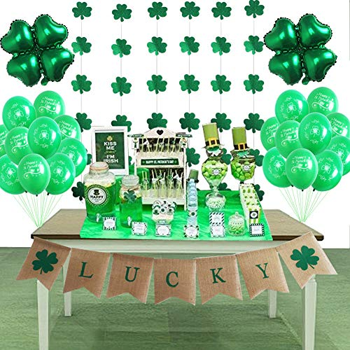 foci cozi St Patrick's Day Decorations Supplies Lucky Banner Shamrock Balloons and Hanging Garland for Irish Fesitival Party Décor ...