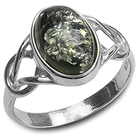 Green Amber Sterling Silver Oval Celtic Ring