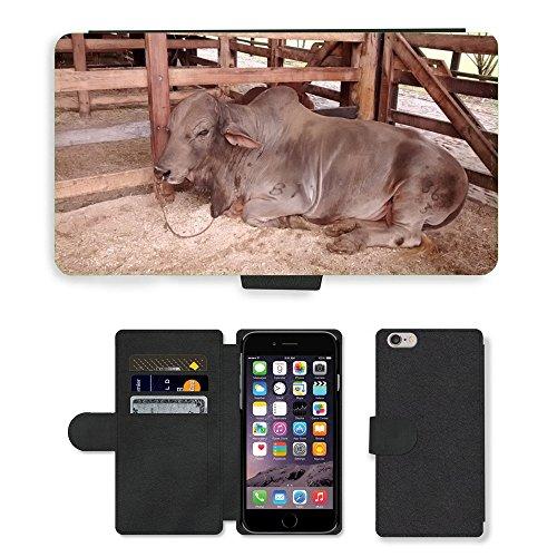 Just Mobile pour Hot Style Téléphone portable étui portefeuille en cuir PU avec fente pour carte//m00140062Vache Animal Nature Animaux Sauvages//Apple iPhone 6Plus 14cm