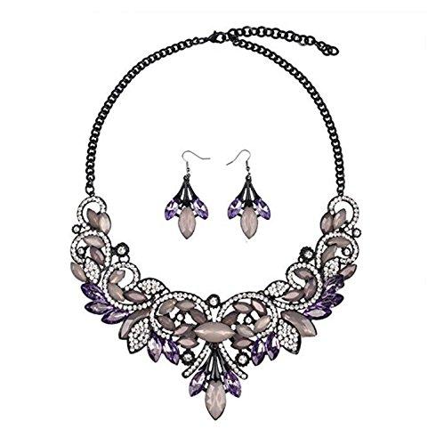 Hamer weiß und schwarz Anhänger Kristall Charms Statement Choker Halskette und Ohrringe Sets für Frauen Fashion Bohemian Kostüm Schmuck - ()