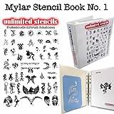 UNLIMITED STENCILS MYLAR SCHABLONEN-BUCH Nr. 1 mit PLAKAT DIN A1