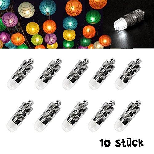Dazone 10x Mini LED-Ballons Lichter mit Batterien Wasserdicht Luftballons Beleuchtung für Lampions Papierlaternen Hochzeit Party - Kaltweiß [Energieklasse A+]