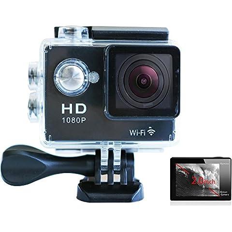 Full HD 2.0pollici schermo impermeabile Sport d' azione fotocamera DV DVR casco fotocamera sport dv videocamera Obiettivo grandangolare per moto Surf Immersioni Sci, 1080P