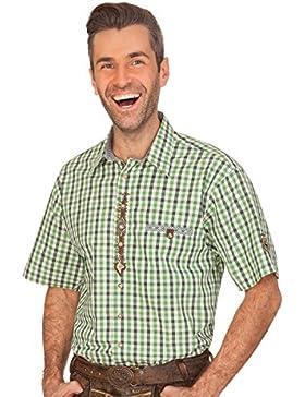orbis Textil Trachten Herren Hemd mit 1/2 Arm - KASPAR - Bordeaux, Oliv