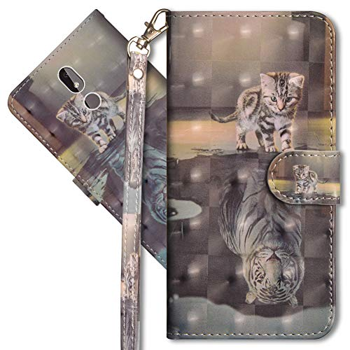 MRSTER Nokia 3.2 Handytasche, Leder Schutzhülle Brieftasche Hülle Flip Case 3D Muster Cover mit Kartenfach Magnet Tasche Handyhüllen für Nokia 3.2. YX 3D - Cat Tiger