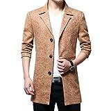 YiLianDa Herren Slim Fit Sakko Blazer Freizeit Business Jacke Anzugsjacke Jacket Mantel Khaki XL