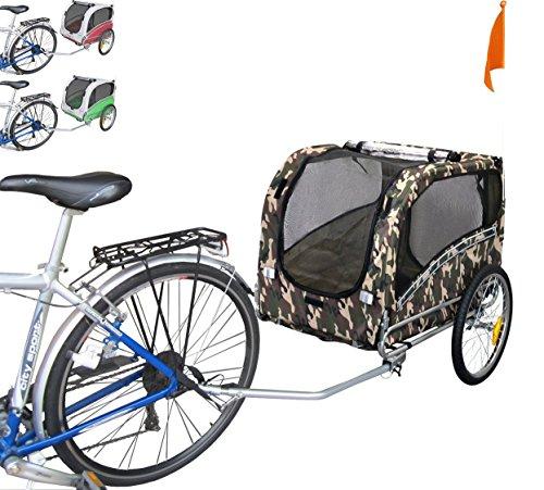 POLIRONESHOP SNOOPY rimorchio per trasporto cani cane animali carrello carrellino trasportino rimorchi da bici bicicletta dog portacani portacane porta appendice x (Mimetico, Small)