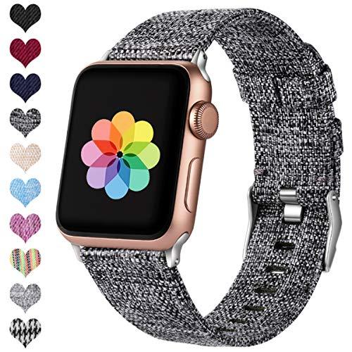 HUMENN Kompatibel mit Apple Watch Armband 38mm 40mm 42mm 44mm, Ersatzgewebe Band Nylon Sport Armband mit Rostfreier Metallschnalle für iWatch Serie 4 3 2 1, Schwarz Grau 38mm/40mm -