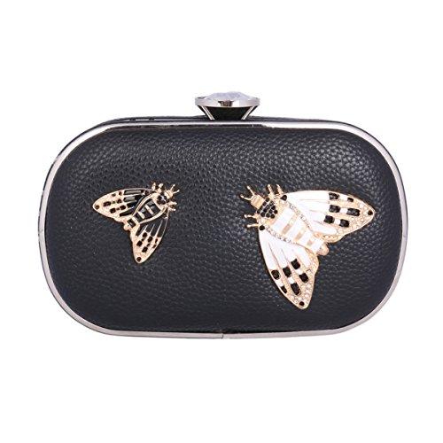 Damara® Damen Abendtasche Zwei Motten Muster Diamant Geschmücktes Schloss Aus PU Leder Schwarz