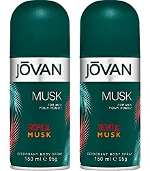 Jovan Tropical Musk Deodorant Body Spray pack of 2